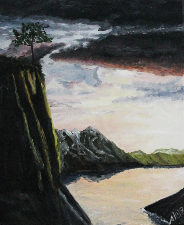 Alessandro Beltrami Tramonto sullo scoglio olio su tela 50x60 cm