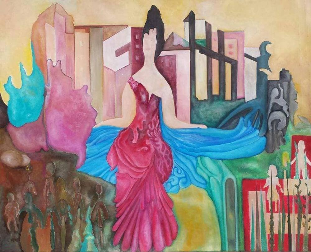 Bakita La dama dei paesaggi Olio e acrilico su tela 90x100 cm