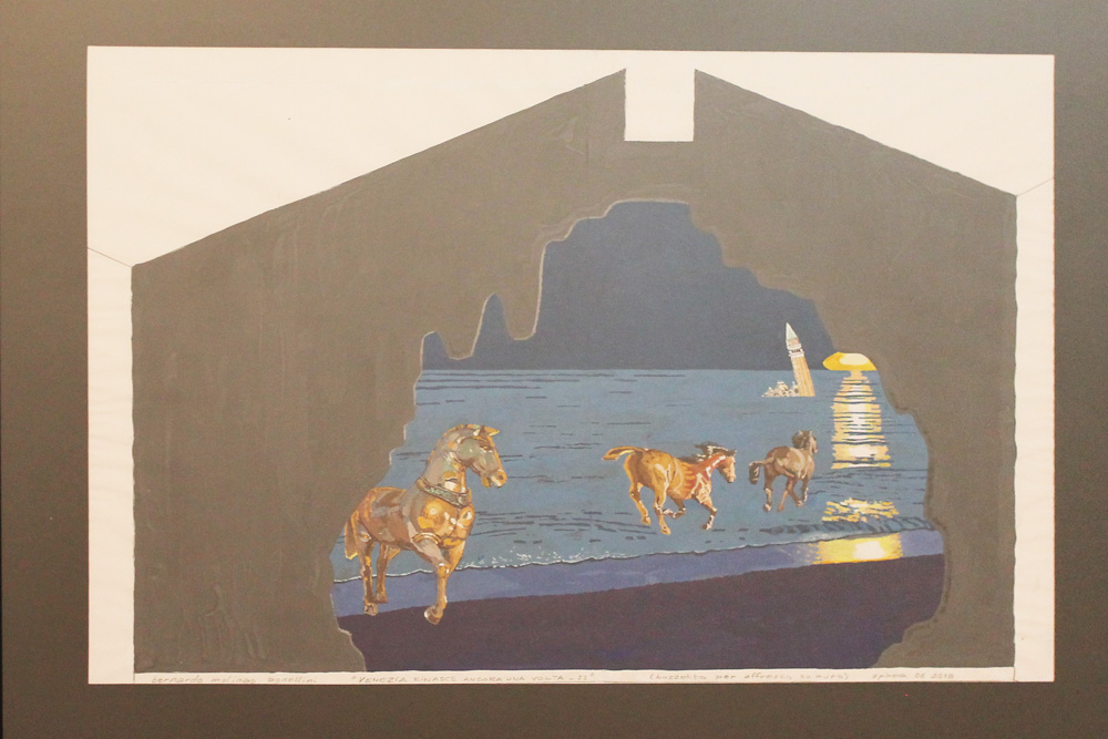 Bernardo Molinas Venezia rinasce ancora una volta Tempera 60x50 cm