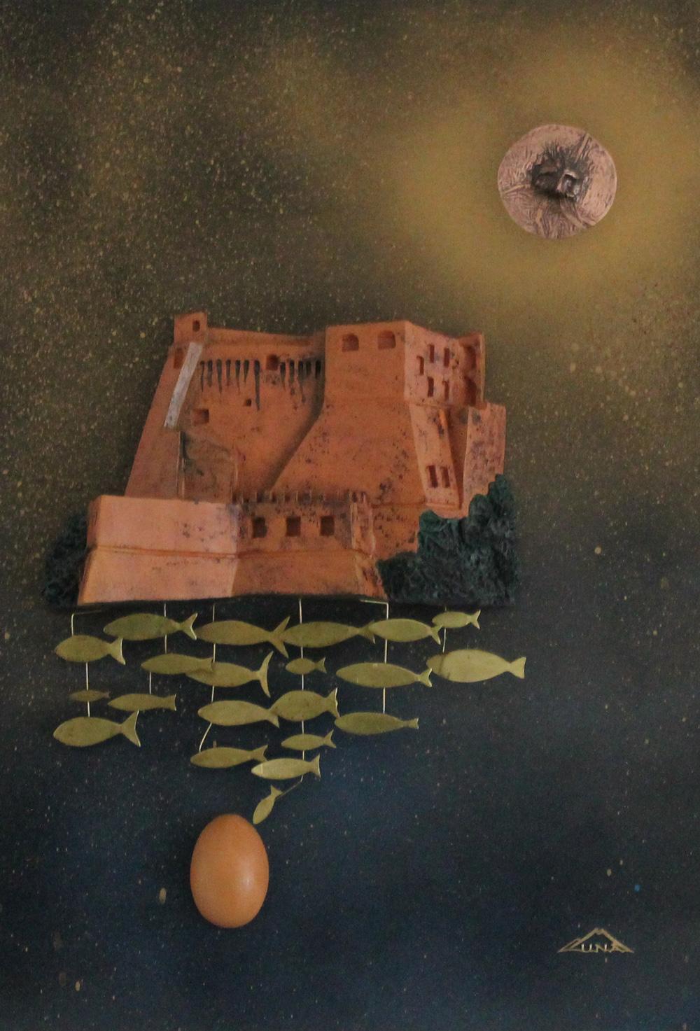 Munà (Claudio Monti) L'anima del golfo Installazione di terracotta su lastra metallica 35x40 cm