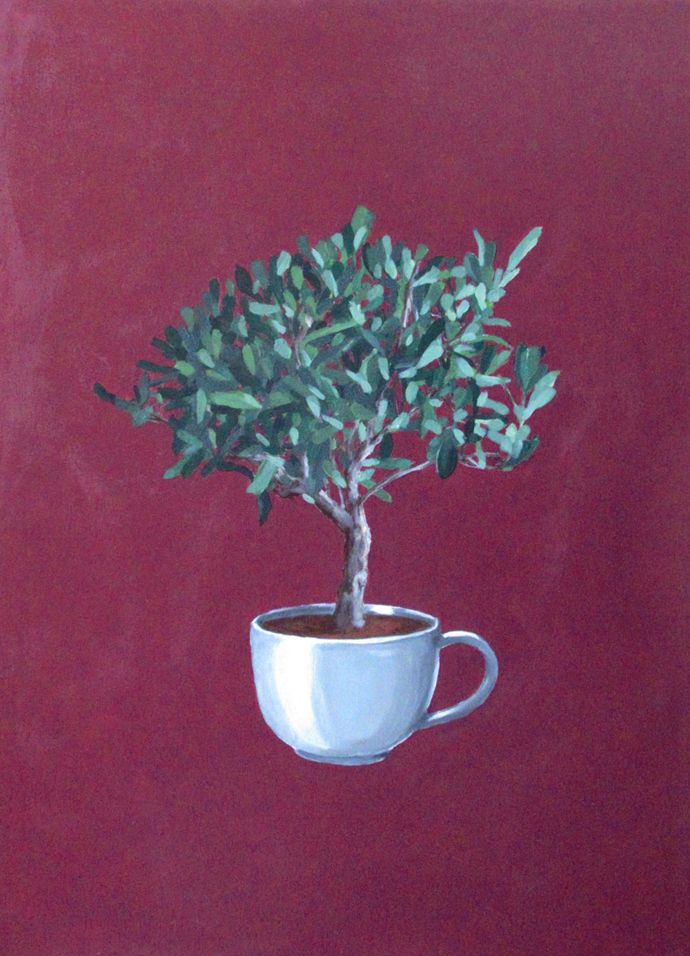 Cristina Mangini Bonsai di olivo in tazza Smalto su tela 50x70 cm