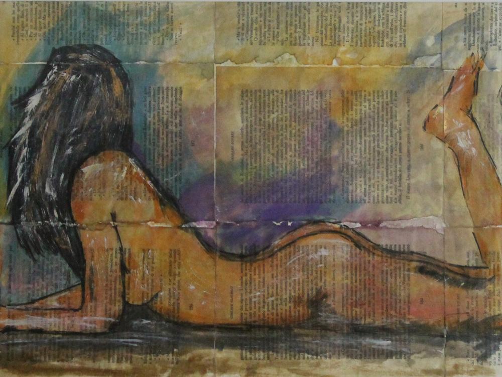 Devid Brozzi Nudo di donna 2 Acquarello su carta libro 40x30 cm