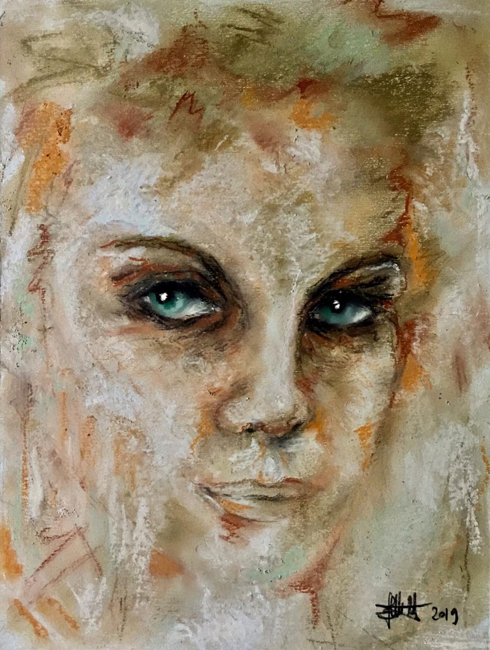 Elisabetta Castello Le parole degli occhi Pastello su cartone 23x30 cm