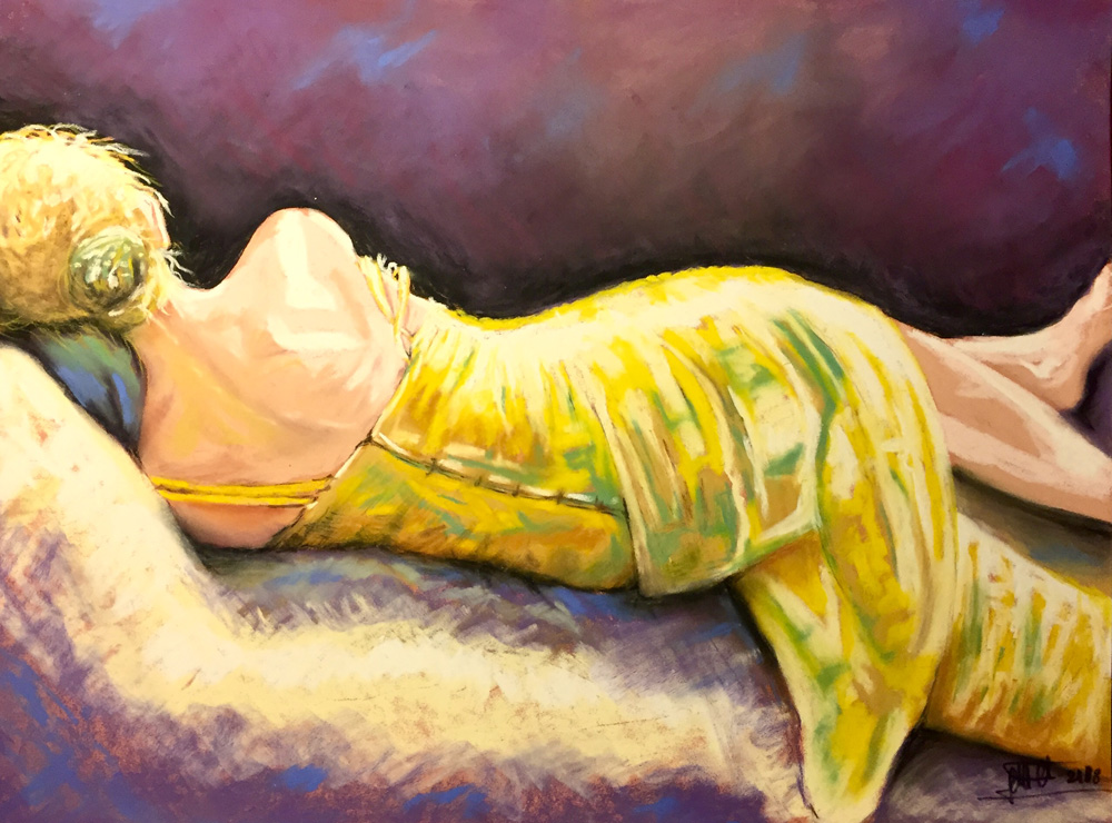 Elisabetta Castello La ragazza con il vestito giallo Pastello su cartone 30x40 cm