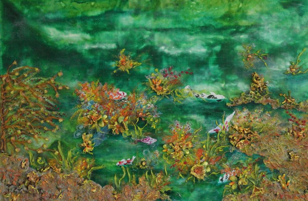 Emanuela Corbellini Il lago incantato Tecnica mista 60x40 cm