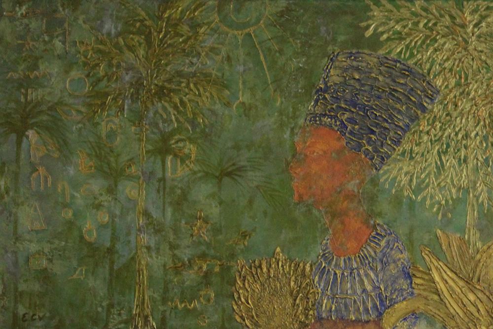 Emanuela Corbellini Sogno di Nefertiti Tecnica mista 80x40 cm