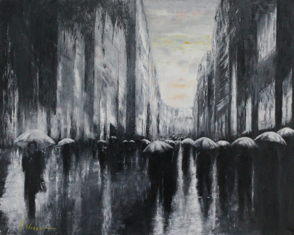 Fausto Nazer Rain in the city Olio su tela 100x80 cm