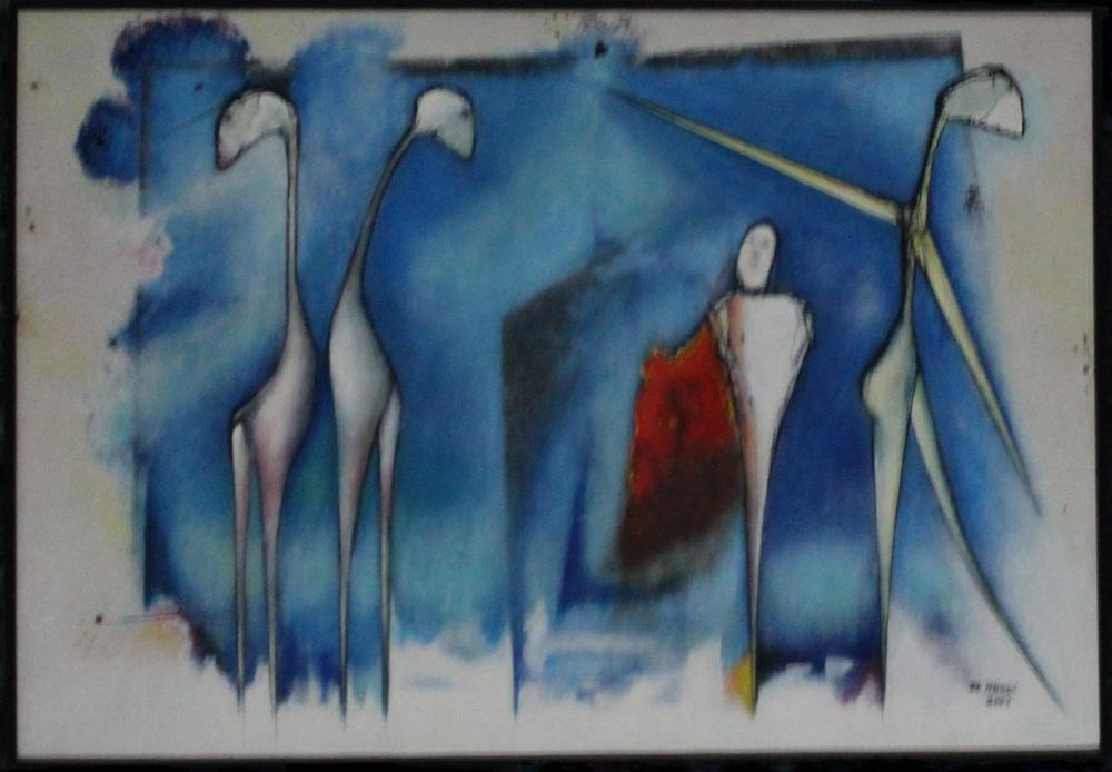 Mario De Nardi Cavalli ballerine similari Acrilico su tela 70x50 cm