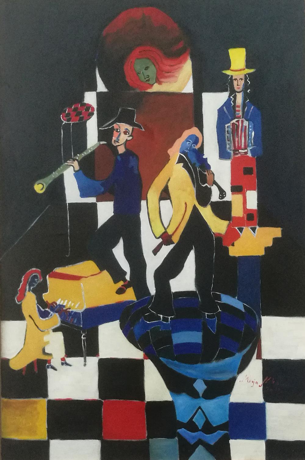 Minja Nikolcin Pierro on the street Olio su tela 105x70 cm