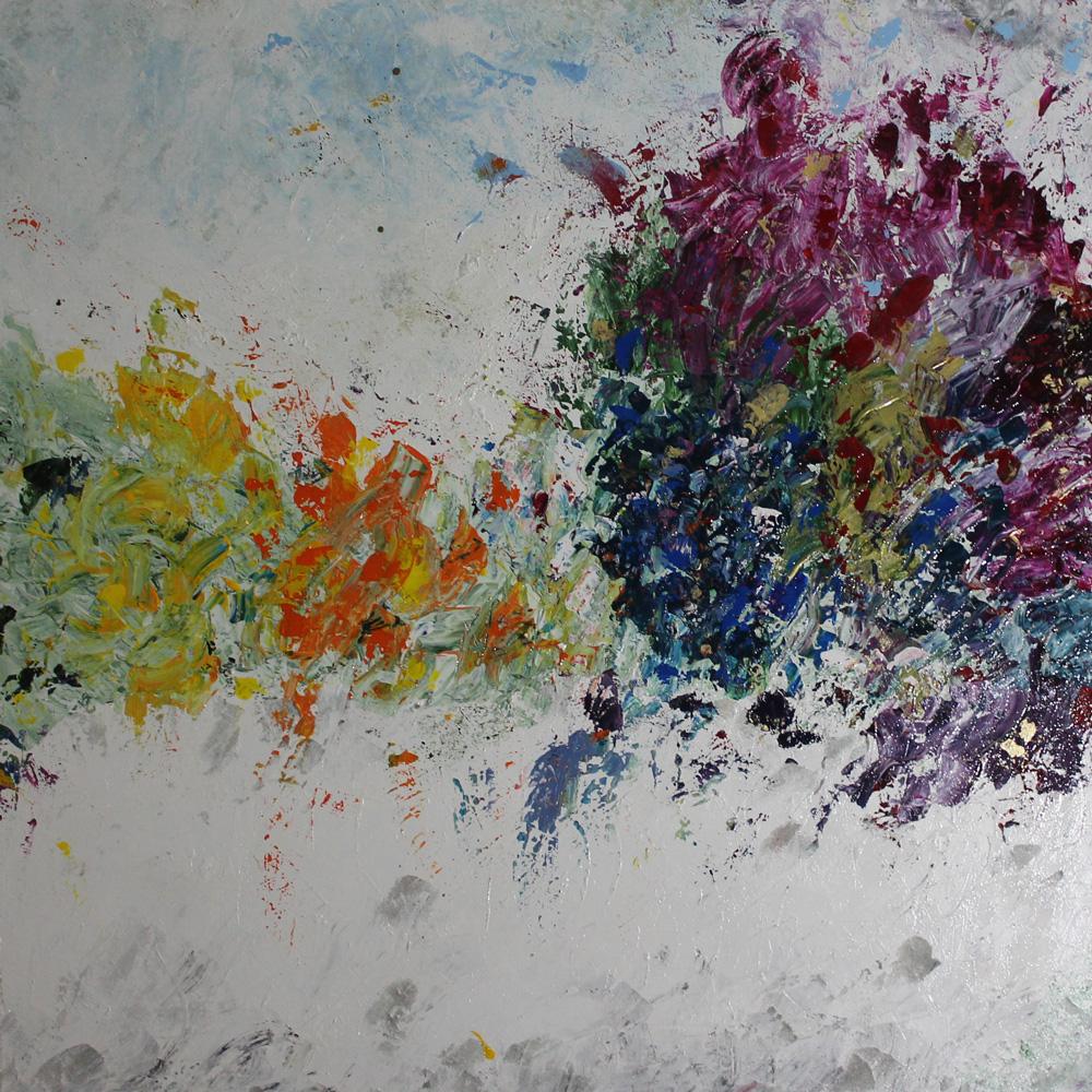 Monica Bonaventura Evanescente Acrilico e materico 100x100 cm