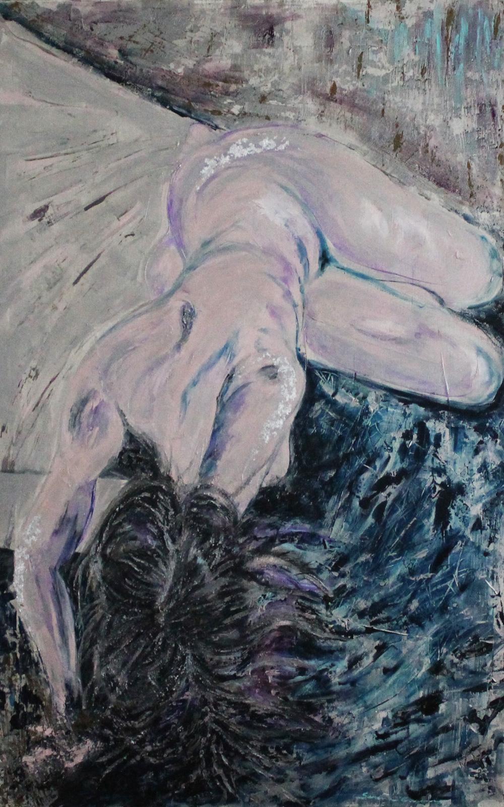 Serena Casali Donna luna fiore Acrilico su tela 110x90 cm