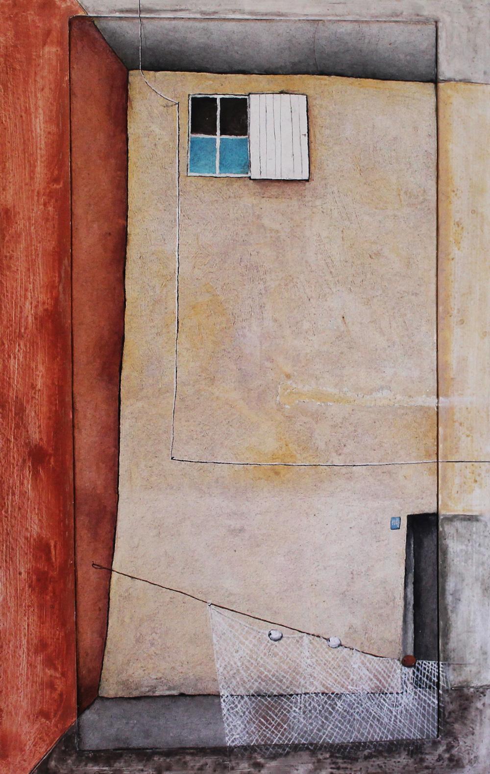 Artù Tullio Fantuzzi La casa del pescatore Affresco 69,5x109,5 cm