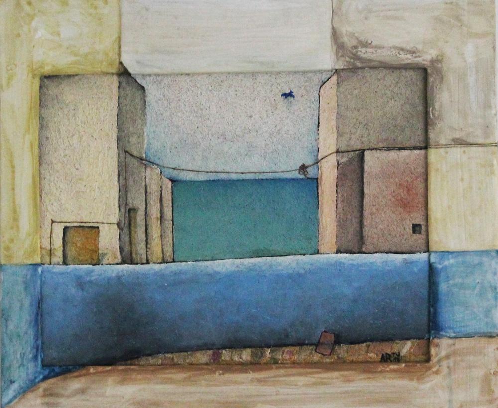 Artù Tullio Fantuzzi Muretto verso il mare Affresco 51x43 cm