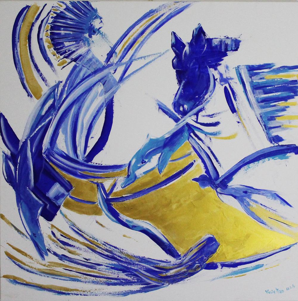 Chicca (Vania Maso) Spirito libero Acrilico a spatola 80x80 cm