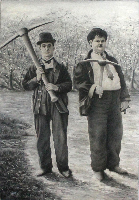 Sandra Ghin Stanlio e Ollio Olio su tela 70x110 cm